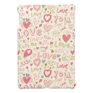 Romantic Pattern with Hearts and Lips iPad Mini Case