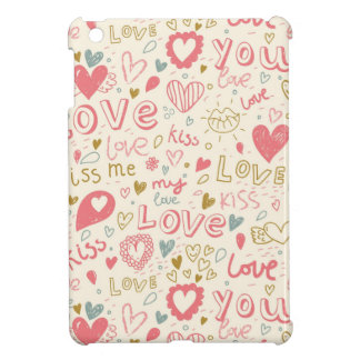 Romantic Pattern with Hearts and Lips iPad Mini Cases
