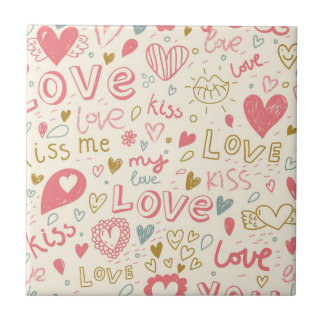 Romantic Pattern with Hearts and Lips Small Square Tile