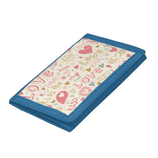 Romantic Pattern with Hearts and Lips Trifold Wallets