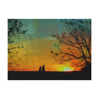 romantic peaceful sunset couple painting canvas print