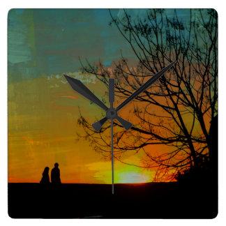 romantic peaceful sunset couple painting square wallclocks