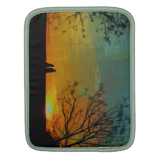 romantic peaceful sunset couple painting sleeve for iPads