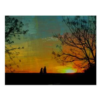 romantic peaceful sunset couple painting postcard