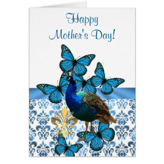 Romantic peacock mothers day card