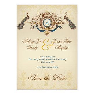 Romantic Peacock Save the Date Announcement