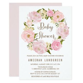 Romantic Peonies Wreath Baby Shower Invitation