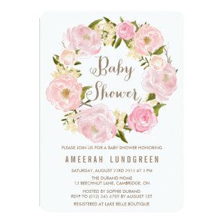 "Romantic Peonies Wreath Baby Shower Invitation 5"" X 7"" Invitation Card"