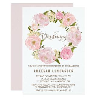 Romantic Peonies Wreath Christening Invitation