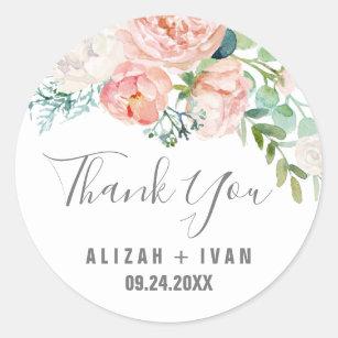 Romantic Peony Flowers Thank You Wedding Favour Classic Round Sticker