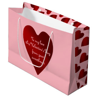 Romantic personalized heart large gift bag