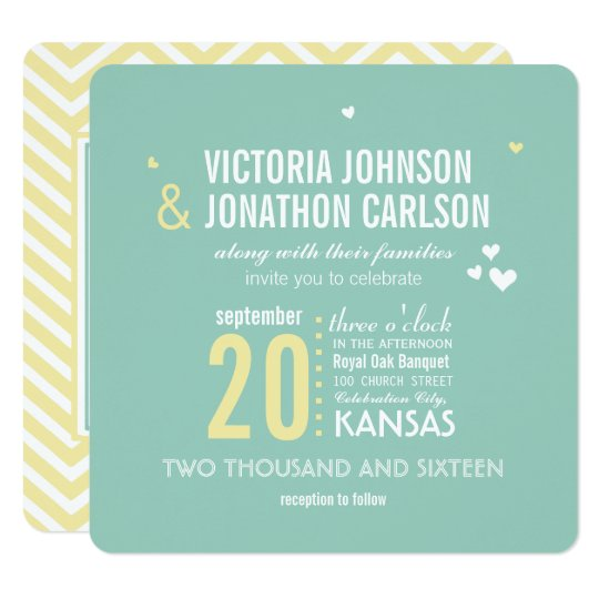 Romantic Photo Mint and Yellow Zig Zag Wedding