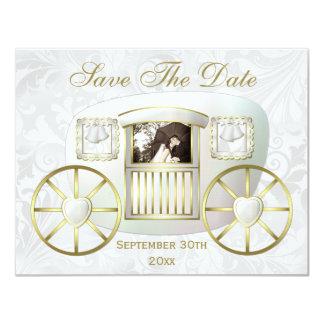 Romantic Photo Wedding Carriage Save the Date 11 Cm X 14 Cm Invitation Card