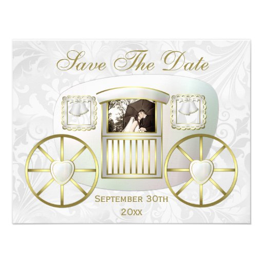 Romantic Photo Wedding Carriage Save the Date Custom Announcements