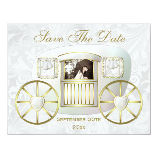 Romantic Photo Wedding Carriage Save the Date 4.25x5.5 Paper Invitation Card