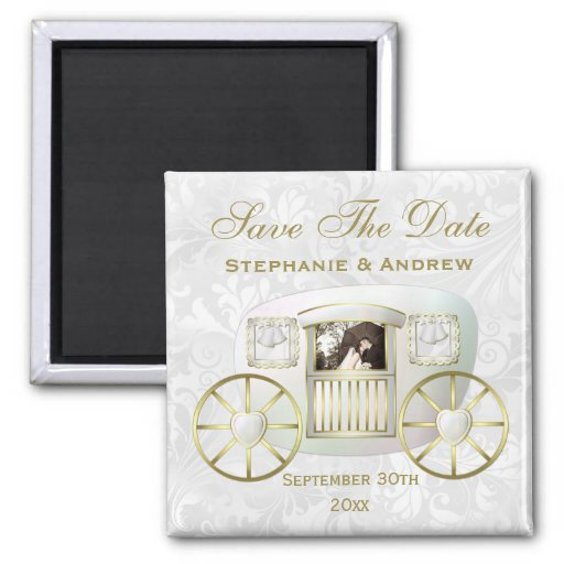 Romantic Photo Wedding Carriage Save the Date Magnets