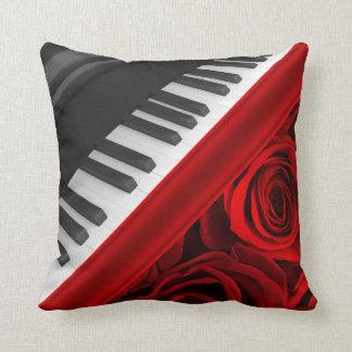 Romantic Piano and Roses Cushion