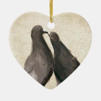 Romantic Pigeons Ceramic Heart Decoration