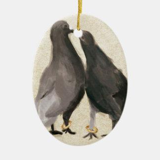 Romantic Pigeons Ceramic Oval Decoration