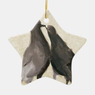 Romantic Pigeons Ceramic Star Decoration