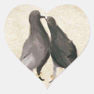 Romantic Pigeons Heart Sticker