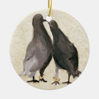 Romantic Pigeons Round Ceramic Decoration