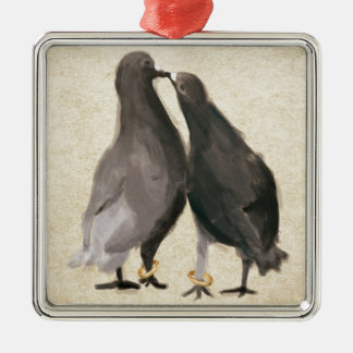 Romantic Pigeons Silver-Colored Square Decoration