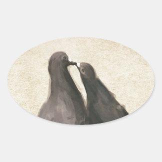 Romantic Pigeons Oval Sticker