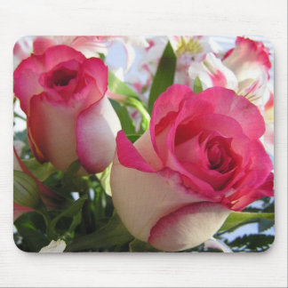 Romantic Pink and White Rose Bouquet Mousepad