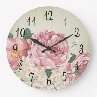 Romantic Pink and White Roses Large Clock