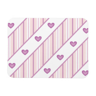 Romantic pink background with pink hearts rectangular magnets
