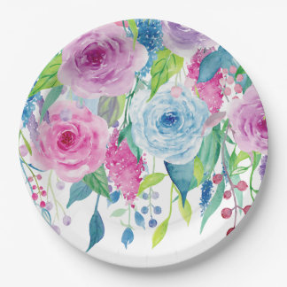 Romantic Pink Blue Watercolor Floral Paper Plate