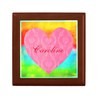 Romantic Pink Damask Heart with Name Rainbow Gift Box