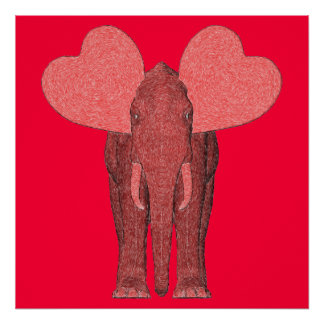 Romantic Pink Elephant Poster