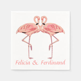 Romantic Pink Flamingos Couple Paper Napkin