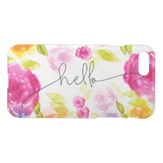Romantic Pink Floral Blossoms Boho-Chic Hello iPhone 7 Case