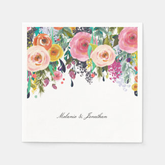 Romantic Pink Floral Garden Watercolor Disposable Serviette