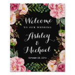 Romantic Pink Floral Wreath Classy Wedding Sign