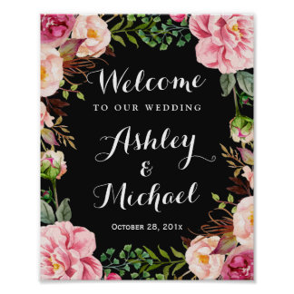 Romantic Pink Floral Wreath Classy Wedding Sign Poster