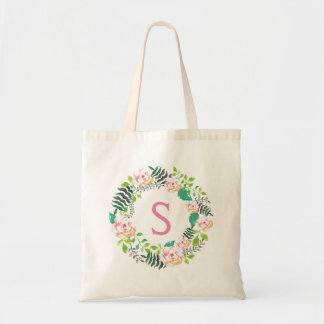 Romantic Pink Floral Wreath Personalized Tote Bag