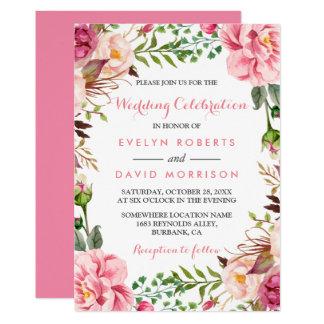 Romantic Pink Floral Wreath Wrap Formal Wedding 13 Cm X 18 Cm Invitation Card