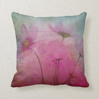 Romantic pink flowers cushion