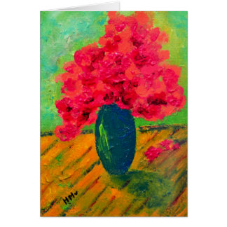 Romantic pink flowers painting card