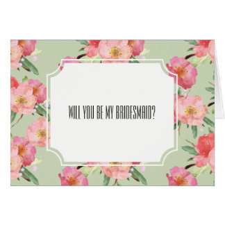 Romantic Pink Garden Watercolor Flowers Bridesmaid Card