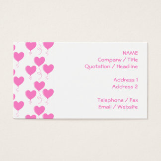 Romantic Pink Heart Balloons Pattern. Business Card