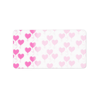 Romantic Pink Heart Balloons Pattern. Label