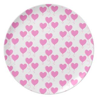 Romantic Pink Heart Balloons Pattern. Plate
