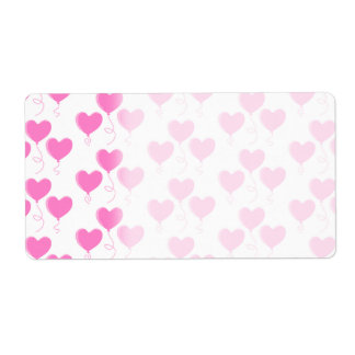 Romantic Pink Heart Balloons Pattern. Shipping Label