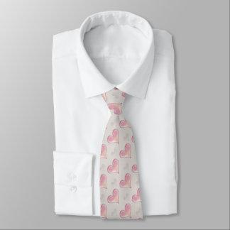 Romantic Pink Hearts Pattern Tie