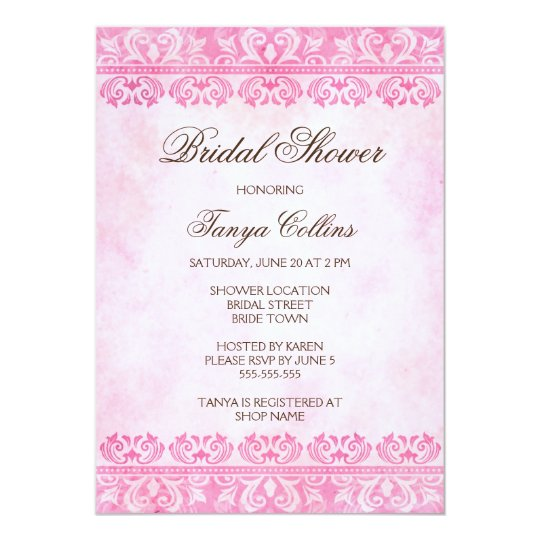 Romantic pink lace damask bridal shower invitation